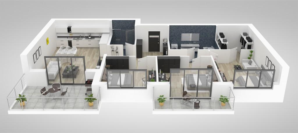 3D Grafik von großer Wohnung
